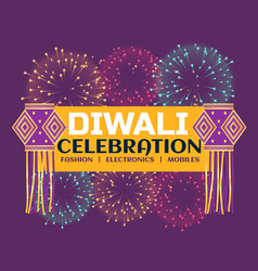 Diwali festival celebration banner with fireworks vector