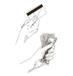 doodle icons hand holds banknotes and card vector image