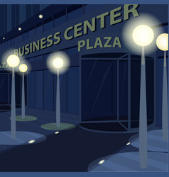 Exterior of facade of business center at night vector