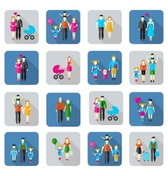 Family and people flat icons vector