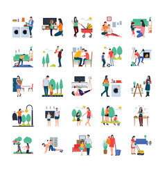 Family housewife family walking outdoor flat ic vector