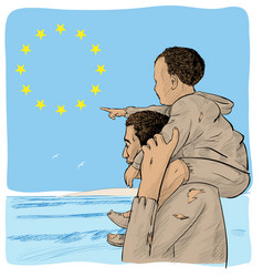 father and son immigrants in front vector image