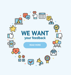 feedback signs round design template thin line vector image