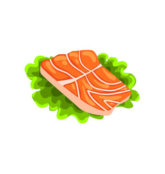 Fillet of fresh red salmon fish seafood product vector