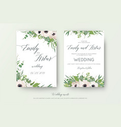 Floral wedding double invite elegant card design vector