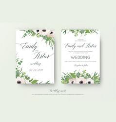 floral wedding double invite elegant card design vector image