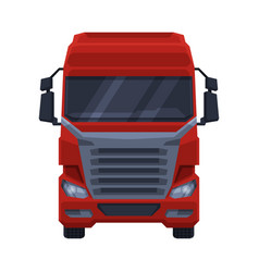 front view red truck cargo delivery semi truck vector image