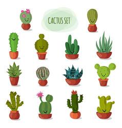 Funny and cute cartoon desert cactus in pots vector