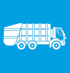 Garbage truck icon white vector