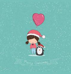 Girl with heart shaped balloon christmas vector