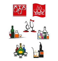 Glasses and alcohol icons or symbols vector image