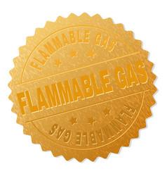 Golden flammable gas award stamp vector