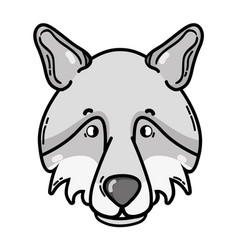 grayscale cute wolf head wild animal vector image