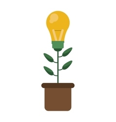 green bulb idea plant pot design vector image