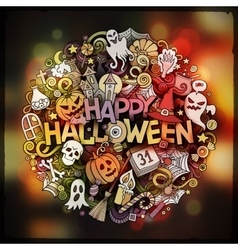 Halloween hand lettering doodles elements and vector