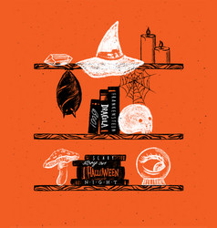 halloween shelf with crystal witch hat candles vector image