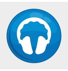 Headphones button icon Social media design vector
