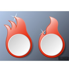 Hot fire flames banners set vector