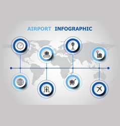 Infographic design with airport icons vector