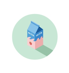 Isometric of strawberry milk box vector