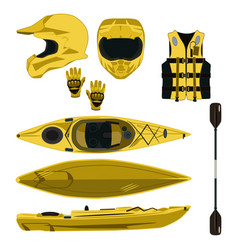 Kayaking equipment and protective gear icon vector