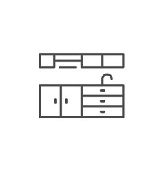 Kitchen furniture line icon vector