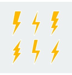 Lightning bolt icons set vector