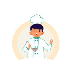 Little boy in a chef robe and hat cooks a meal vector