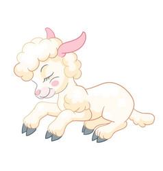 Little cute funny character sleepy lamb vector