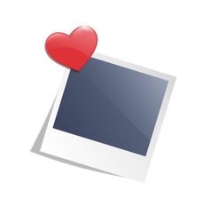 Love photo frame on wall with red heart magnet vector