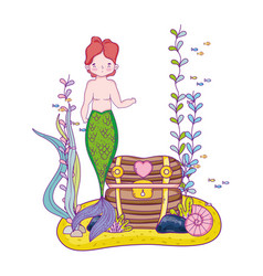 Male mermaid with treasure chest undersea scene vector