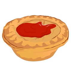 Meat pie with tomato sauce vector