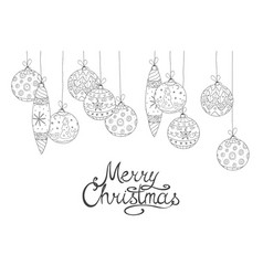 merry christmas white background with hand drawn vector image