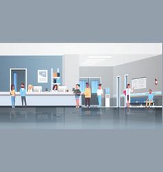 Mix race patients standing line queue at hospital vector