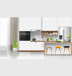 Modern white kitchen interior background vector