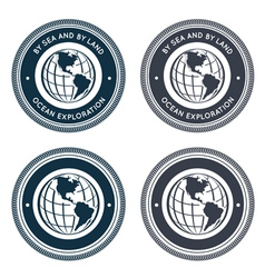 Nautical emblem with globe vector image
