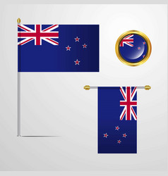 New zealand waving flag design with badge vector
