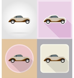 old retro transport flat icons 08 vector image