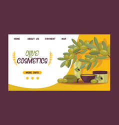 olive oliveoil cosmetic bottle natural vector image