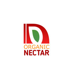 Organic fruit juice nectar letter n icon vector