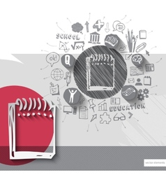 Paper and hand drawn notebook emblem with icons vector