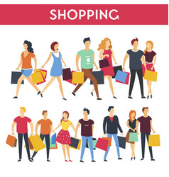 People with shopping bags icons vector