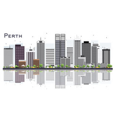 Perth australia city skyline with gray buildings vector