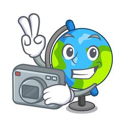 photographer globe mascot cartoon style vector image
