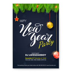 poster for happy new year holiday party greetings vector image
