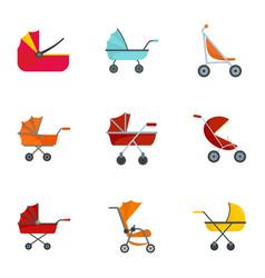 pram stroller icon set flat style vector image