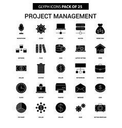 Project management glyph icon set vector