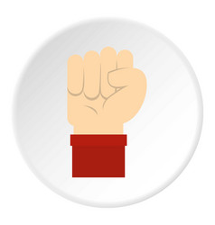 raised up clenched male fist icon circle vector image