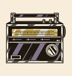 Retro radio receiver colorful template vector