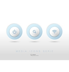 Rounded buttons with business icons and symbols vector image